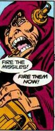 Darkseid's chief lieutenant Desaad launching nuclear missiles to destroy the population of Earth