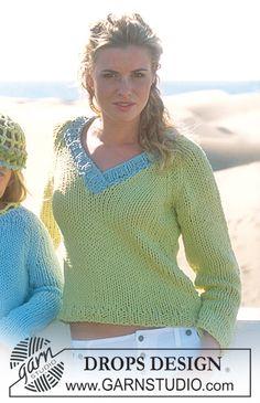 DROPS Getailleerd trui met raglanmouwen en v-hals van 'Ice'. ~ DROPS Design