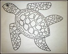 Art Lesson: How to draw a sea turtle step by step. The finished drawing of the…