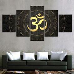 Premium Quality Canvas Printed Wall Art Poster 5 Pieces / 5 Pannel Wall Decor Gold OM Painting, Home Decor Pictures - With Wooden Frame 5 Piece Canvas Art, Canvas Frame, Canvas Wall Art, Wall Art Prints, Poster Prints, Canvas Prints, Posters, Large Canvas, Home Decor Pictures