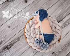 Aviator Baby Boy Hat and Diaper Cover Set - Photography Photo Prop Set  {knittingland}