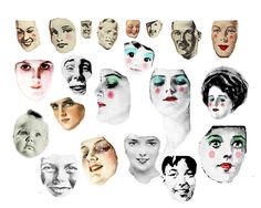 Digital Collage Sheet - Faces #1 - FREE TO USE | by fidgetrainbowtree