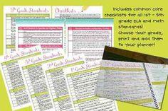 Common Core Checklists for grades 1-5