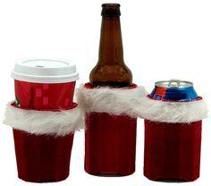 Beverage Insulator Red Velvet Christmas Stocking Pocket Huggie is Handmade & Reusable, Cold/Hot Drinks, 3 SIZES: Cup, Can, Glass Beer Bottle