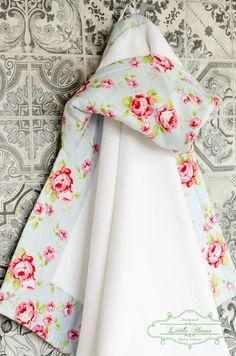 Hooded Towel Baby Girl Roses Shabby Chic Handmade. Ready