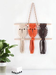 Three Owls Macrame Woven Wall Hanging Art Decor - Cute Boho Chic Decorations for Baby Nursery Little Kids Room, Best Friend Gifts for Owl Lovers Macrame Mirror, Macrame Owl, Woven Wall Hanging, Hanging Art, Best Friend Gifts, Gifts For Friends, Owl Wall Art, Macrame Design, Macrame Projects