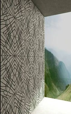 Concrete wall tiles with moss planted grooves | Orto Living Covering from Hungarian Design Studios Ivanka | Designer: Kriszta Balázs