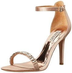 Badgley Mischka Women's Elope Dress Sandal, Latte Satin, 6.5 M US Badgley  Mischka http