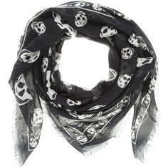 ALEXANDER MCQUEEN 1106040 BLACK/IVORY MODAL/CASHMERE E4387 ($275) ❤ liked on Polyvore featuring accessories, scarves, sciarpe, acessorios, women, patterned scarves, alexander mcqueen, print scarves, skull scarves and ivory shawl