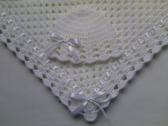 Crochet baby blanket and baby hat set  Material: Baby care high quality acrylic yarn, very soft, satin ribbon.  Machine warm wash at 40C  Made