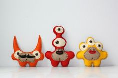 Trio of Mini Monsters You Pick Style and Color Red Blue Green Yellow Orange. $25.00, via Etsy.