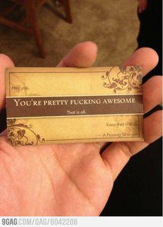pass it to strangers :-D