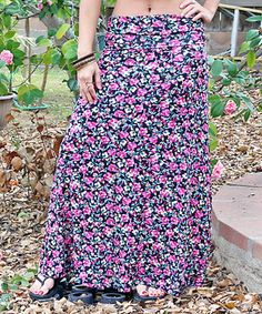 Look at this #zulilyfind! Pink & Black Floral Fold-Over Maxi Skirt by Super Nova #zulilyfinds