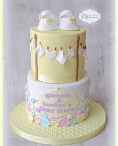 Buttons & Clothesline Baby Shower Cake | Baby Shower Cakes, Birthday Cake, Colorful Cakes, Themed Cakes | Beautiful Cake Pictures