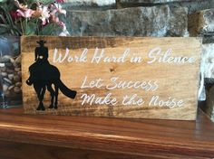 Equestrian Motivation Rustic Wooden Sign by LouLouandBonBon  Silence can be an avid equestrian's best friend when it comes to your plans and goals with your equine companion. By doing so you can help eliminate some of the pressure and negative comments that comes from the   Rustic Wooden Sign | Barn Signs | Horse Decor | Equestrian Decor | horse show | horse motivation | Avid Equestrian | Equestrian Life | Equestrian Gift | Equine Motivation | horsemanship | Equestrian Goals | Equestrian…