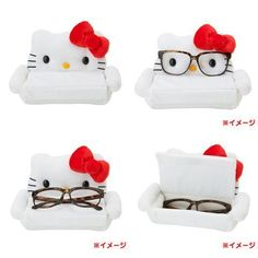 Hello Kitty Glasses Case and Stand from Sanrio Japan! I am not a hello kitty fan, never have been but if this was a different character it would be super cool to have. Sanrio Hello Kitty, Hello Kitty Haus, Hello Kitty Items, Hello Kitty Stuff, Hello Kitty Accessories, Kawaii Blog, Hello Kitty Collection, Sanrio Characters, Glasses Case