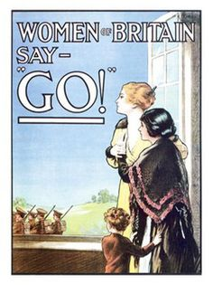 WW1 poster from Great Britain,  encouraging men to enlist by pulling on their heartstrings ... their women WANT them to go, even though parting is difficult.