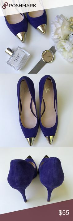 Victoria's Secret Metal Toe Suede Pumps 💙 Blue suede Victoria's Secret pumps in size 6. Silver metal cap toe detail. Approximately 4 inch heel. Great pre-owned condition. Barely noticeable lift on the metal toe cap on one shoe.  124 Victoria's Secret Shoes Heels