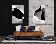 INSTANT digital download-Modern waves art set of 2-Diptych   Etsy Wave Art, Bed Spreads, Color Show, Happy Shopping, Giclee Print, Digital Prints, Black And Grey, Waves, Art Prints