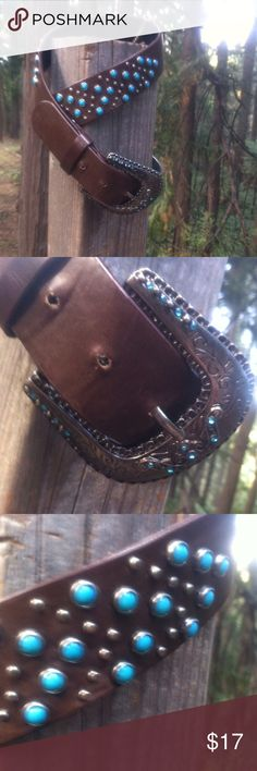 Western Blinged belt Western brown belt Blinged in silver and turquiose.oversized buckle and 3 areas of turquiose and silver detail on belt, full length is 39 inches, to the first hole 30... A 'Kristens Find' posh on girlfriend;) Accessories Belts