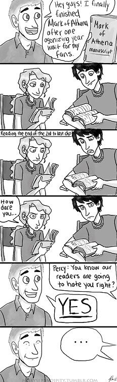 Rick Riordan...*shakes fist*  I like this comic because my fantasy of Percy Jackson being real comes to play... If only *sigh*