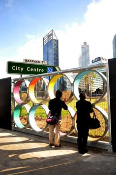 Elizabeth Quay Hoarding in Western Australia has created colourful frames within a viewing window, making it sociable and accessible whilst adding colour and novelty.