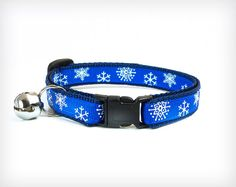 Holiday Cat Collar - My Favorite Things - Snowflakes on Cobalt Blue by MadeByCleo