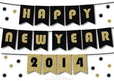 HAPPY NEW YEAR Banner Printable Decoration - DIY Garlands for 2016 Party