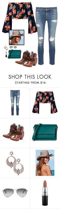 """""""Summer Boots"""" by speakwithstyle ❤ liked on Polyvore featuring rag & bone/JEAN, Marni, Venus, TOMS, MAC Cosmetics, Summer, Boots and cowgirl"""