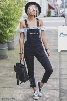 Denim overalls featuring a skinny fit, adjustable buckled straps, a zippered bib pocket, slanted front pockets, a zippered side, side button closures, belt loops, and back patch pockets.