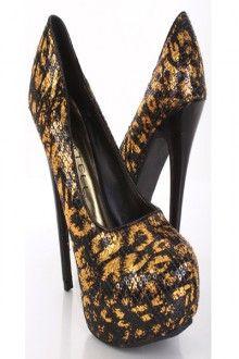 Gold Metallic Foil Animal Print Sequins Platform Pump Heels