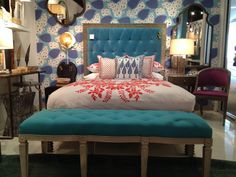 The Belmont Bed in aqua velvet by @Mr. Brown Home is part modern with an equal dash of vintage! Yea baby! IHFC IH500 #HPMKT