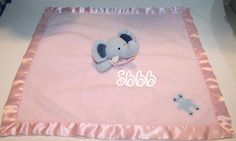 """Blankets & Beyond Plush Pink/Blue Elephant Security 18"""" Lovey Fleece and Chamois $49.96 FREE SHIPPING!"""