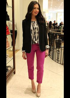 Take note fashionistas! Great example of how to wear colored pants! Check out STACY'S CLOSET from #What Not to Wear  Sachin & Babi Hanna Jacket in onyx,  Snow Leopard Print Blouse by Rachel Roy, and J.Crew Cafe Capri Pants in neon pink