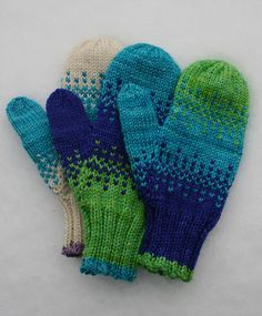 Ambidextrous mittens in three sizes, perfect for impulse buy yarn or stash bits. Includes charted thumb gusset.