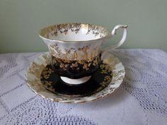 Royal Albert Bone China Regal Black Montrose Style Cup & Saucer #RoyalAlbertBoneChina