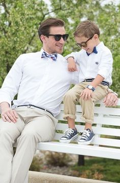 "Celebrate Dad's great style this Father's Day with the perfect ""little man"" outfit. On dad: Apt. 9 slim fit dress shirt, Dockers Signature slim-fit pants, Chaps Alpine checked bow tie. On kid: Chaps button-down shirt, bow tie and chinos and Converse sneakers. Find a stylish Father's Day gift at Kohl's."