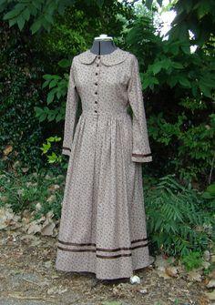 Womens Ribbon Trimmed  Calico  Prairie Dress Pioneer  Dress and  Bonnet $125.00 AT vintagedancer.com