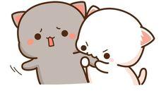 Cute Bunny Cartoon, Cute Love Pictures, Cute Kawaii Animals, Cute Cartoon Pictures, Cute Love Cartoons, Cute Love Gif, Cute Cat Gif, Chibi Cat, Chibi Manga