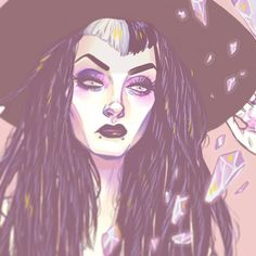 Cleaning up this witchy portrait I drew of @darkheartedsouthernbelle a while back and making prints for her <3 #art #illustrator #illustration #drawing #painting #sketch #artistoninstagram #cartoon #comic #portrait #witch #witches #witchhat #vbangs #twotonehair #dreads #syntheticdreads #crystal #crystals #gems #amethyst #pastel #blacklipstick #gothgoth #makeup