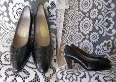 d3722b68e9 Salvatore Ferragamo Black Patent Leather Croc Crocodile Shoes High Heel  Pump Italian Designer Pointed Almond Toe Goth Punk Witchy Pin Up 6.5