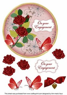 Red Rose Engagement 7in Circle Decoupage Topper on Craftsuprint - Add To Basket!