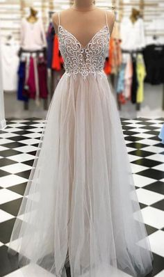 Sexy Spaghetti Straps Tulle Prom Dress, Sexy Beaded #prom #promdress #dress #eveningdress #evening #fashion #love #shopping #art #dress #women #mermaid #SEXY #SexyGirl #PromDresses
