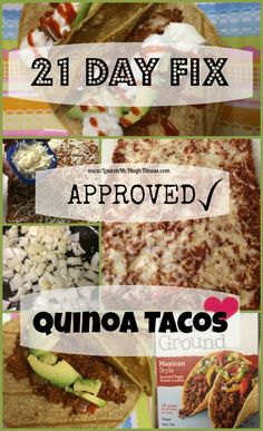YUM!! I'm so excited I finally made my own version of 21 Day Fix approved Quinoa tacos! CLICK the pin to view the full recipe, and REPIN if you will try this! :)