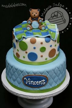 baby shower cakes for boys - Bing Images Torta Baby Shower, Baby Shower Cakes For Boys, Baby Boy Cakes, Baby Boy Shower, Baby Showers, Fancy Cakes, Cute Cakes, Baby Shower Cake Decorations, Teddy Bear Cakes