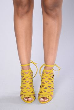 "Available In Yellow And Black - Cutout Sandal Heel - Lace Up Back - 4"" inch heel"