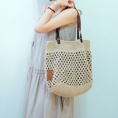 Beautiful Beige cotton crochet bag crochet by Vivianzakka on Etsy