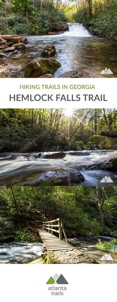 Hike the two-mile Hemlock Falls Trail at Lake Burton, exploring a waterfall-filled valley near Moccasin Creek State Park in North Georgia's beautiful Rabun County. #hiking #running #trailrunnning #atlanta #georgia #travel #outdoors #adventure