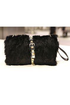 Riveted Strap Faux Fur Clutch OASAP.com $71.00