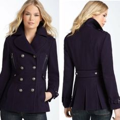 Miss Sixty Wool Peacoat Deep purple, 2nd photo is to illustrate the style only. In perfect condition except for one very minor imperfection - one of the buttons on the front is missing, however, there is an extra replacement button sewn on to the inside of the jacket, as seen the 4th photo, and shouldn't take more than a couple of minutes to replace. Fully lined. Priced to sell, no offers accepted and no price drops. Miss Sixty Jackets & Coats
